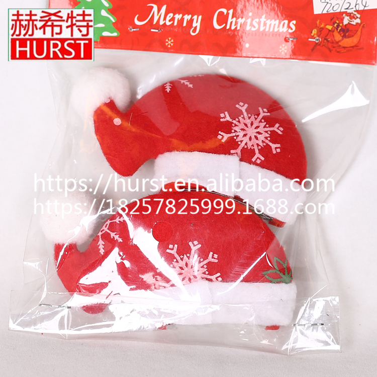 Hot Sale Christmas Hat Hair Snap Clips For Women Red Christmas Gift Barrettes Head hairpins