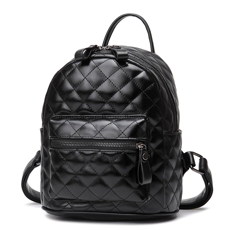 FAIRYSAN Womens Leather Backpack Shoulder Bags Casual Travel Bag black