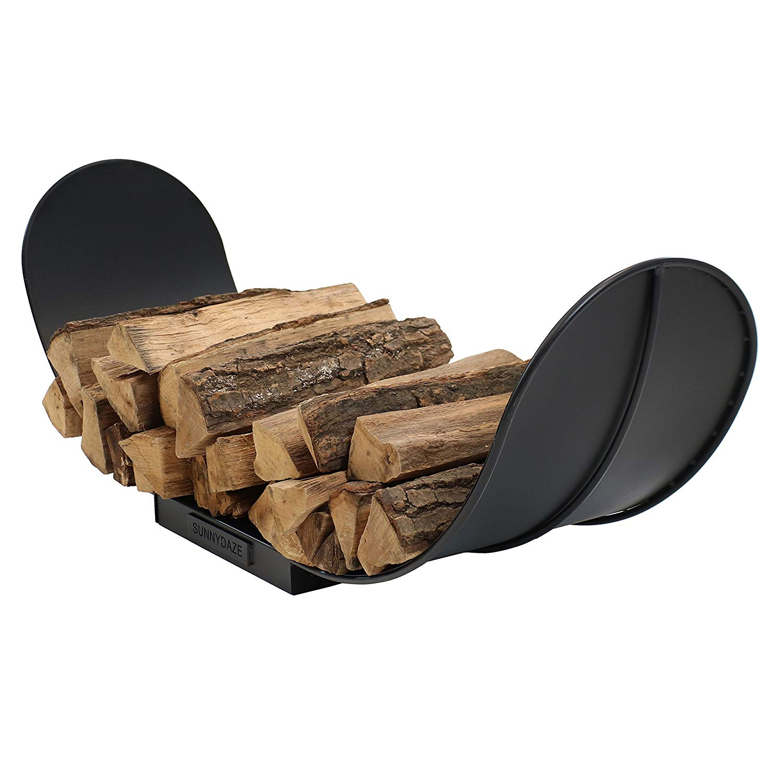 Sunnydaze 4-Foot Curved Firewood Log Rack, Indoor or Outdoor Fireplace Wood Storage Holder, Black Steel