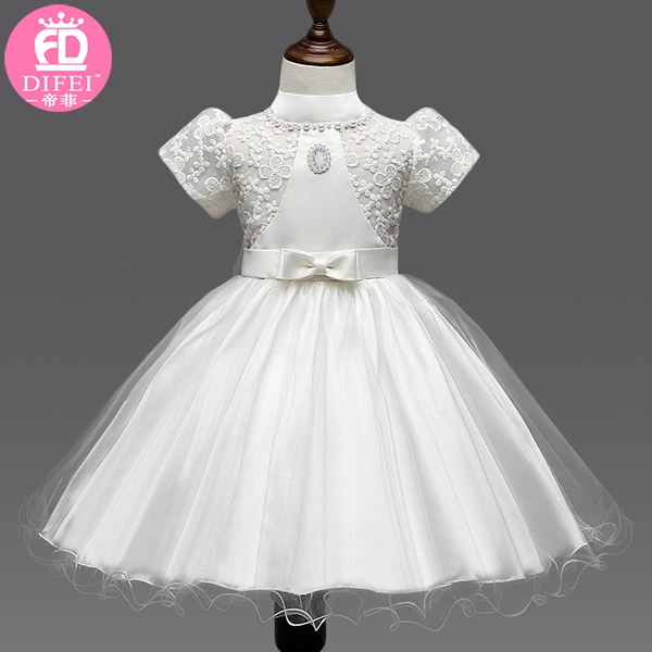 2016 The latest Frock design Dresses for Baby Girl in Birthday Party Wear Clothing With White Color