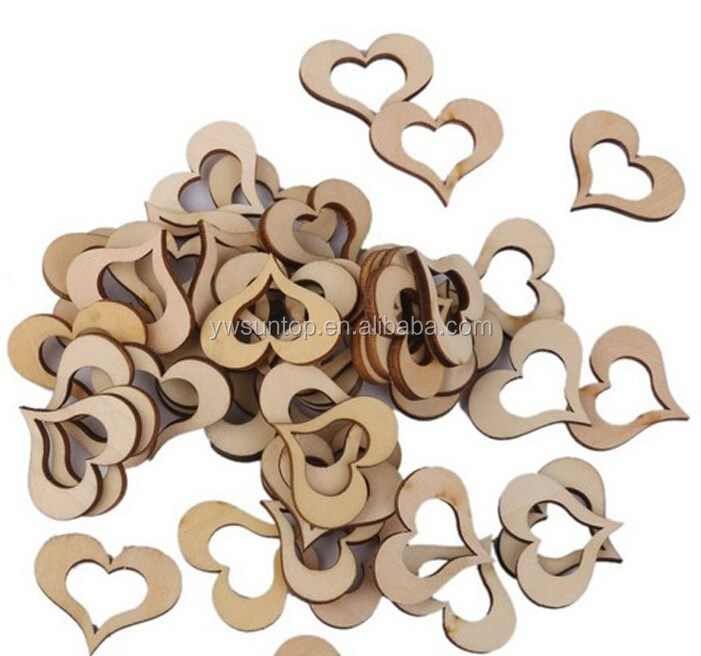 Hollow Wooden Heart Shape for Wedding Baby Shower Party Festival Supplies Table Decoration