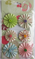 promotion gifts DIY die cut round paper flower sticker with button