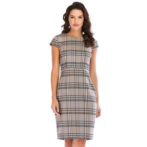 Lefancy Ladies Woven Green gingham O neck cap sleeve office wear women plaid dress for Casual