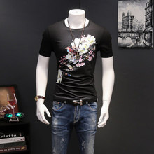 Custom High Quality Mens Cotton Spandex Black Muscle Fit T-Shirt Screen Printing