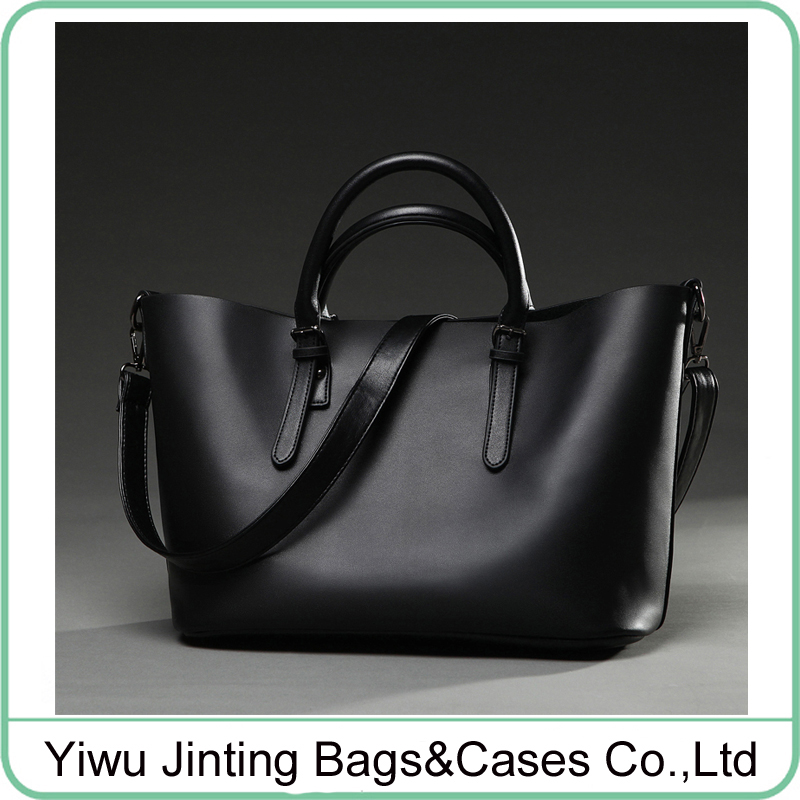 <strong>Black</strong> and grey PU leather women handbag tote bag menssenger bag