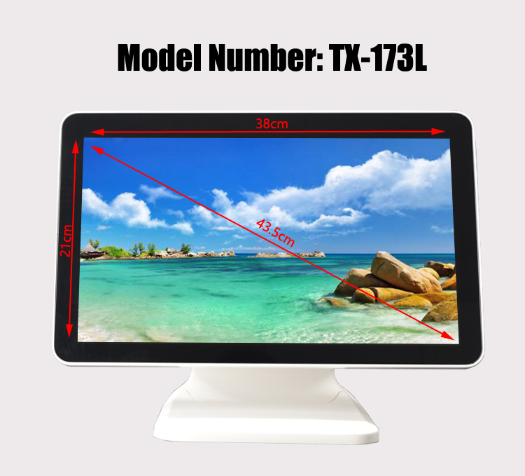 White 17.3 Inch HD 1920*1080 Capacitive True Flat Touch Screen Monitor