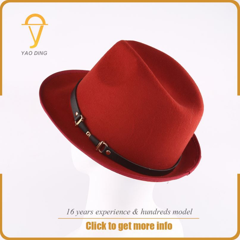 Yaoding wholesale stocking new fashion custom embroidery decorate fedora hat