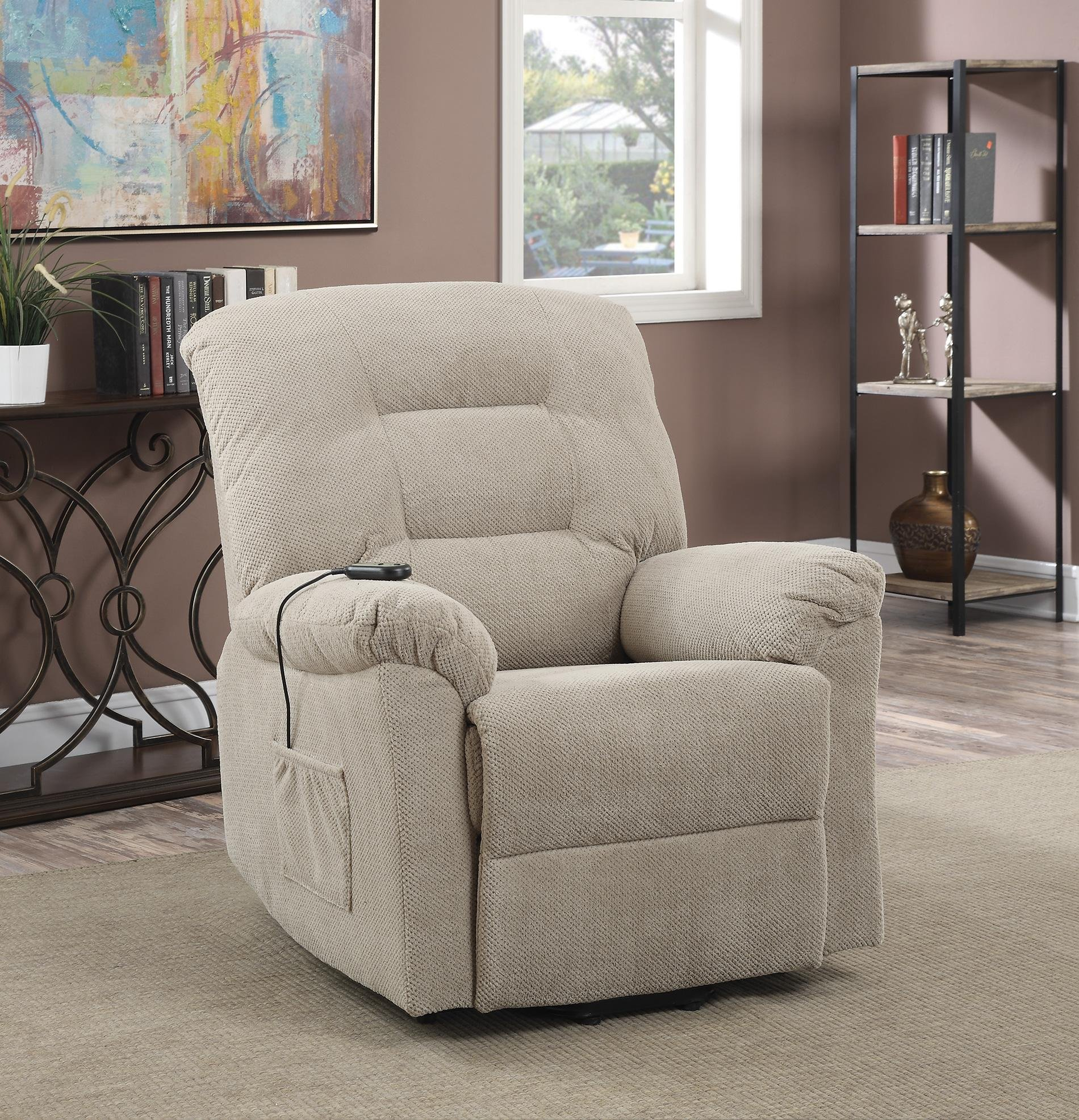 Coaster Casual Chenille Fabric Upholstered Power Lift Recliner, Taupe