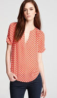 Houndstooth-Print Silk Top Shirt Red Short Sleeve Woman Clothing Blouse