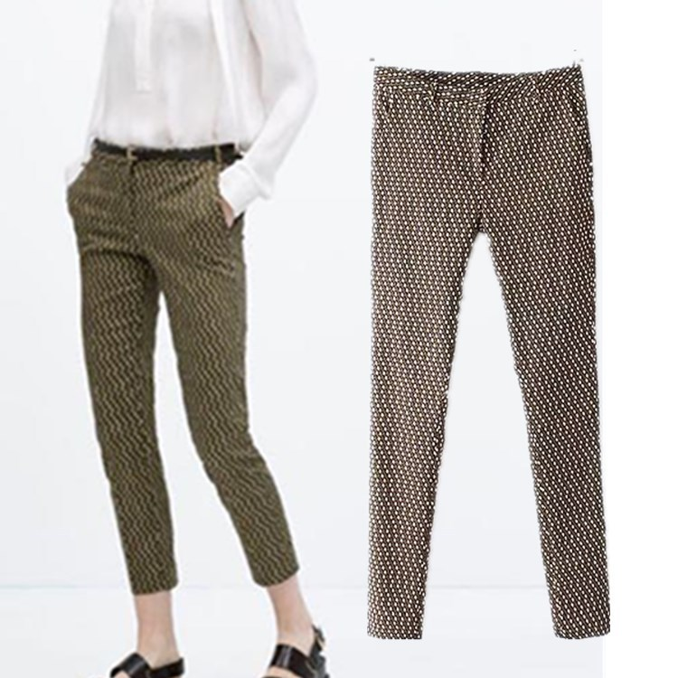 68b35e94f Get Quotations · zara women Spring and summer 2015 women's European style  diamond pattern print casual pants Slim pants