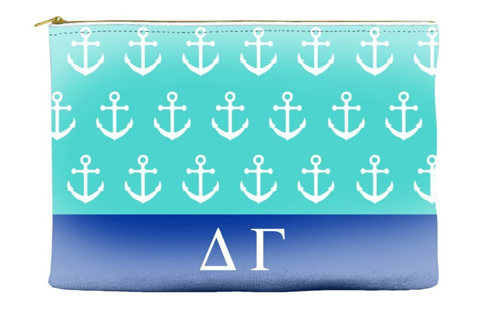 Delta Gamma (DG) Anchors Teal Cosmetic Accessory Pouch Bag for Makeup Jewelry & other Essentials