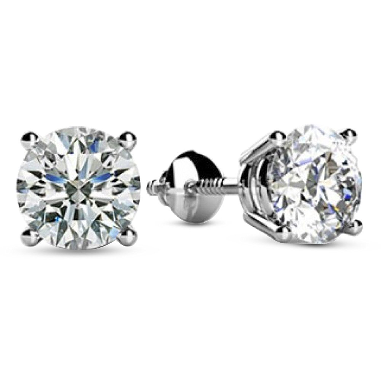 9fc47bc98 Get Quotations · 1/2 - 2 Carat Total Weight Round Diamond Stud Earrings 4  Prong Screw Back