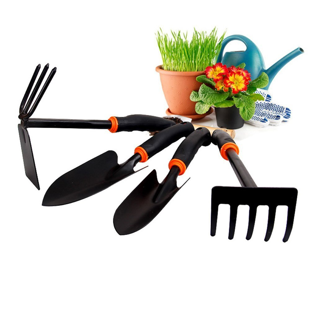 Gardening Tools -4 Piece Garden Tool Set (Big Trowel, Small Trowel, Rake & Double Hoe) from OUTOWIN. High-Quality & Ergonomic Designed for Women & Garden Lovers. Make Gardening Easy&Fun Now