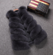 Faux Mink Fox Fur Long Vest waistcoat&Gilet Black Red Gray White For Womens imitation fur