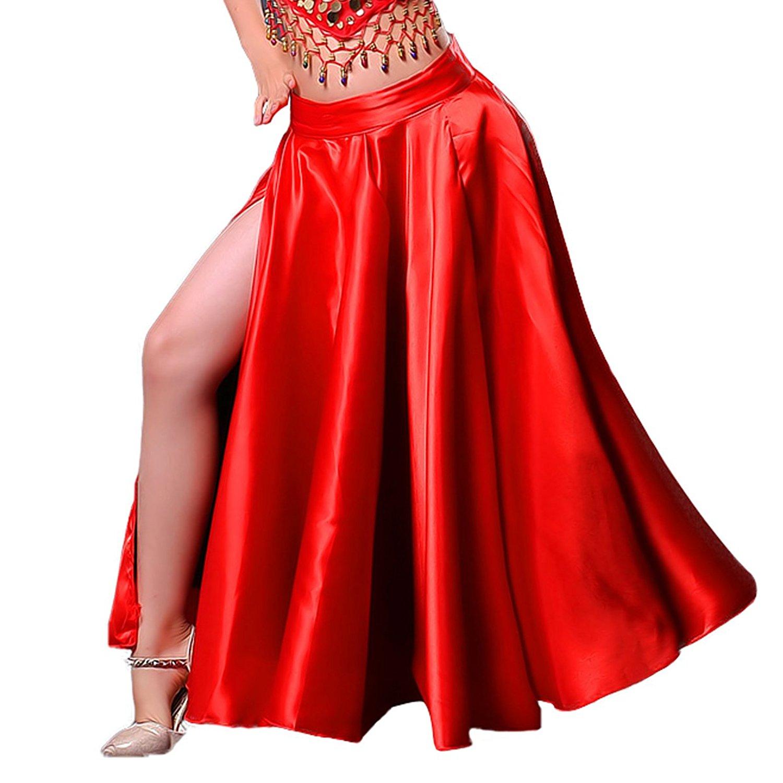 3dba767395b DREAMOWL Girls Red Spanish Flamenco Practice Dance Skirt Belly Dress Satin Gypsy  Dress