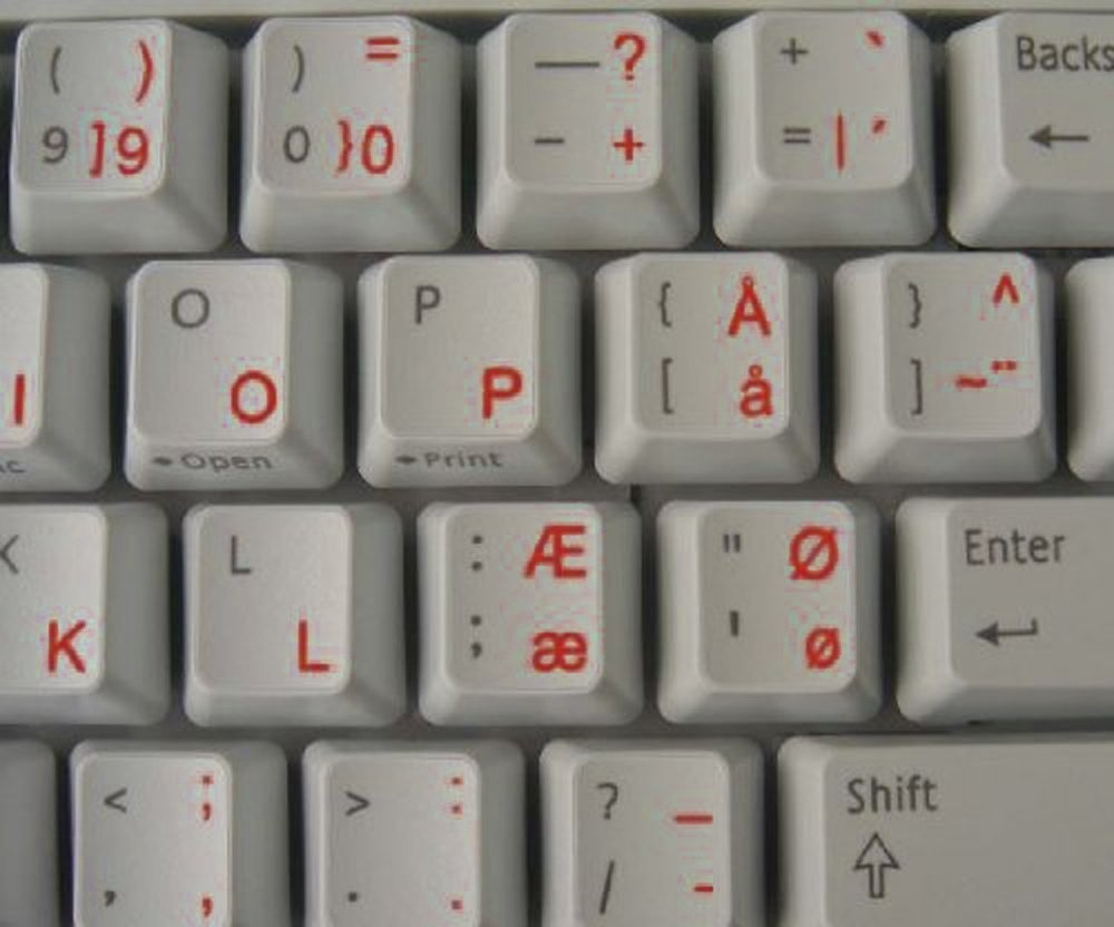 Danish Transparent Keyboard Stickers with Red letters - for any laptop or keyboard