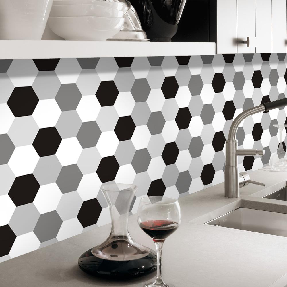 PGTS019 Blanc Noir Gris Hexagone Étanche Amovible Cuisine Carrelage Mural  Autocollant
