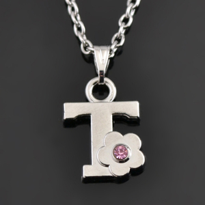 Wholesale Pink Rhinestone Baby Initial Pendant Letter T Necklace,Chrildren's Holiday Jewelry