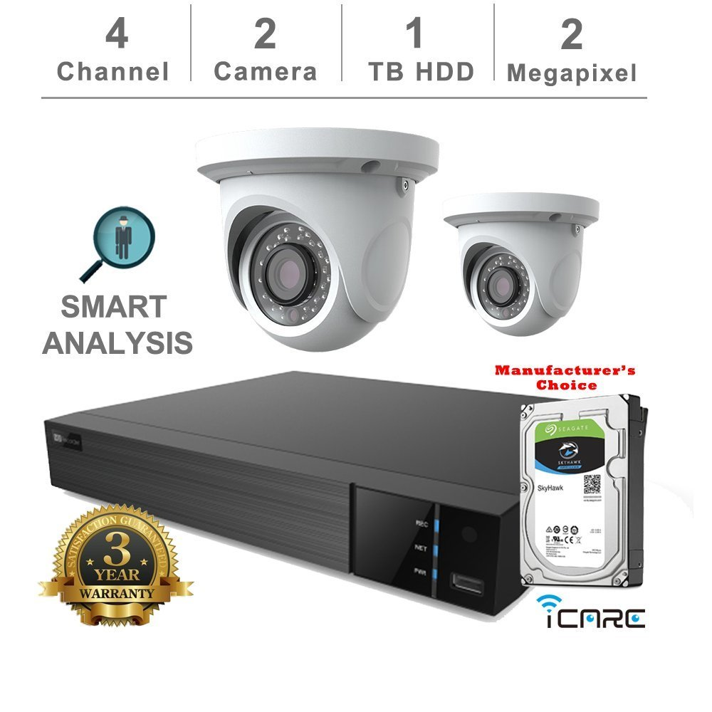 iCare-DVR Smart Analysis DVR Security Kits: 4CH 5 in 1 DVR w/1TB Security HDD+ (2) 2MP Outdoor Turret Grey Eyeball (3 Years Warranty; Local US Support)