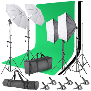 Neewer 2.6M x 3M/8.5ft x 10ft Background Support System and 800W 5500K Umbrellas Softbox Continuous Light Kit