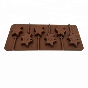 Sweettreats Silicone mold 6 lattices double Pentagram lollipop mold DIY star chocolate mold comes with plastic rod