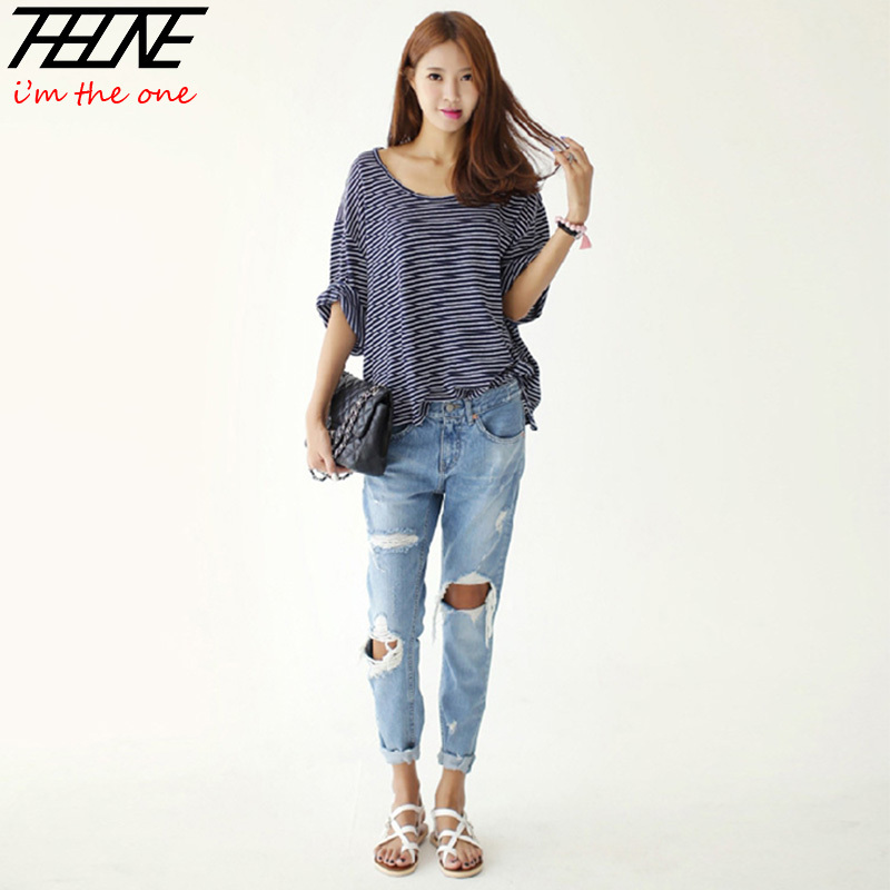 2014 Autumn New Fashion Cotton Jeans Women Loose Low Waist Washed Vintage Big Hole Ripped Long