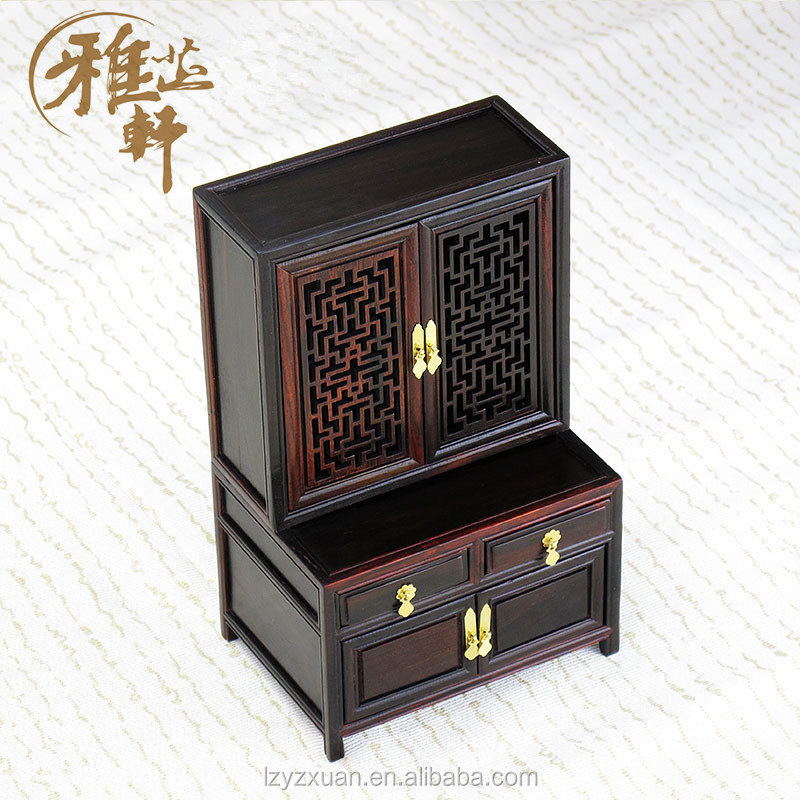 2016 Fashion Design Chinese Wood Carving Ornaments Antique Miniature Furniture Sideboard Model for Decoration