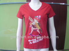 Custom 100 cotton t shirt of ladies fashion design v neck