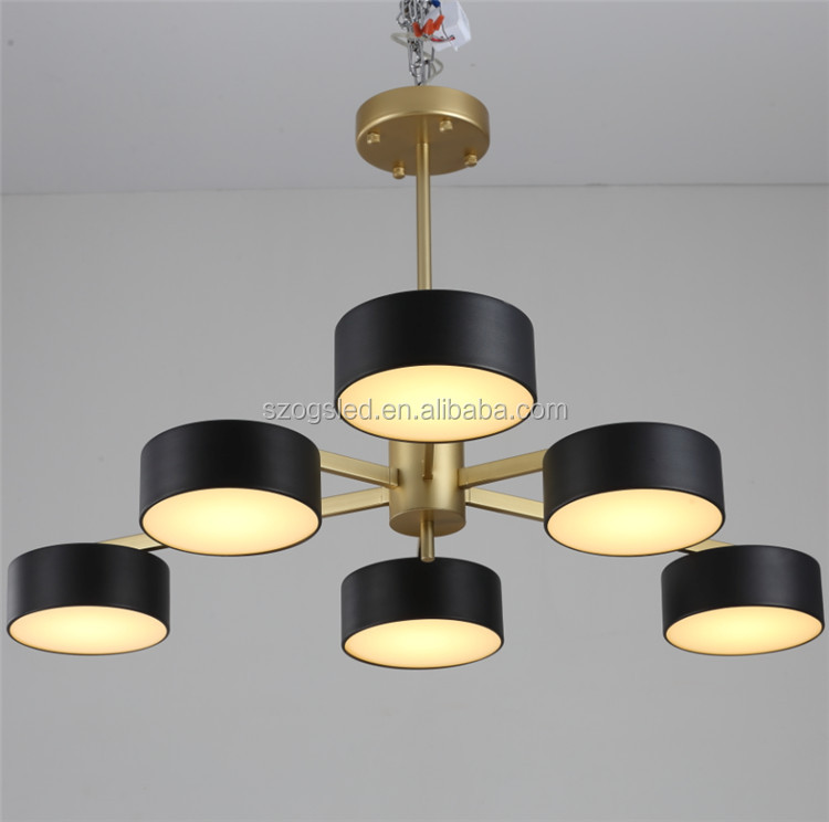 Modern Art Retro Factory Industrial Iron+Acrylic Finish Black/ White Round Chandelier Lights LED Big Pendant Lamp for Hotel Home