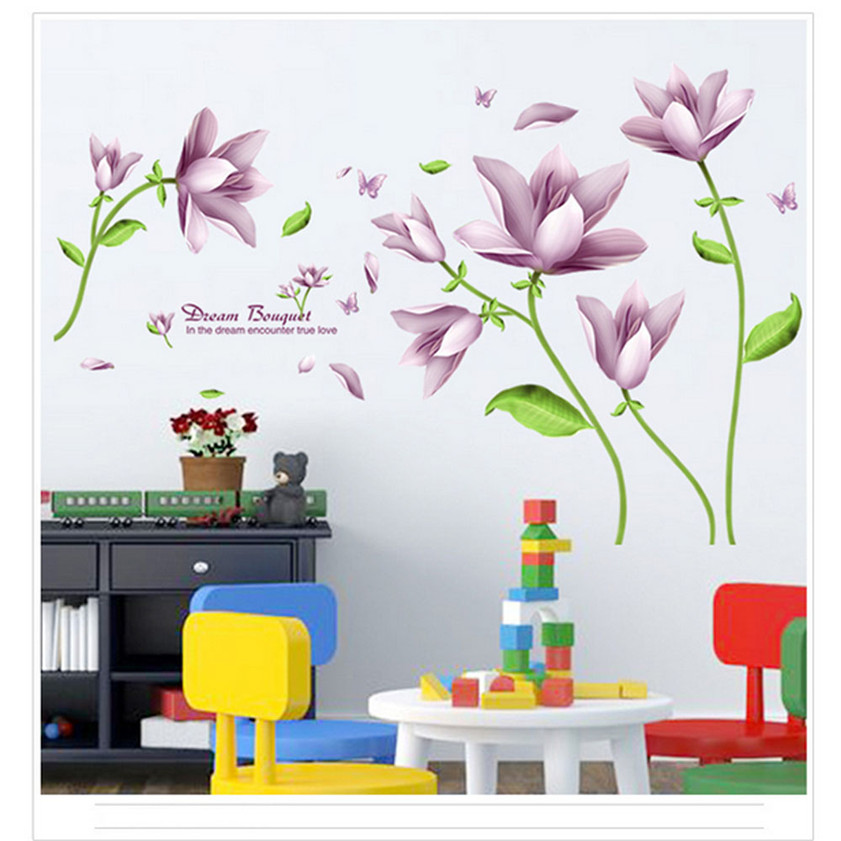 High Quality <font><b>Elegant</b></font> Bouquet Of Wall Paper Wall Can Remove Background Bedroom Wall Stickers