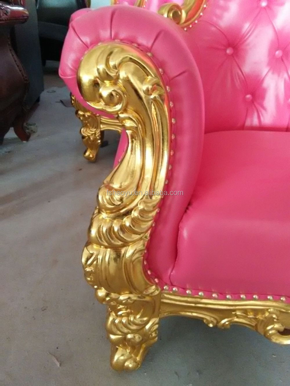 Royal Pink Pu Leather King Throne Chair Barcelona Chair