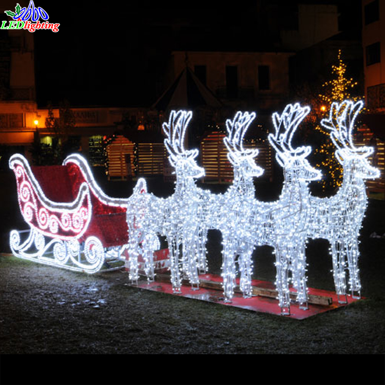 Outdoor street decorations led Reindeer/Sleigh lights