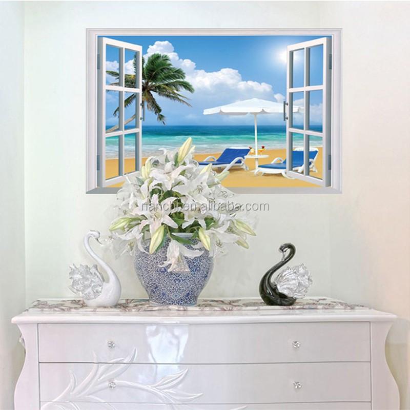Abnehmbare Strand Meer 3D Fenster Landschaft Wandaufkleber Wohnkultur  Aufkleber Wandbild Aufkleber Exotische Strand Ansicht