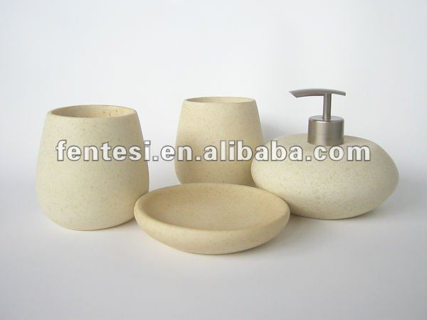 2013modern beige resin 4-pieces bathroom accessory set