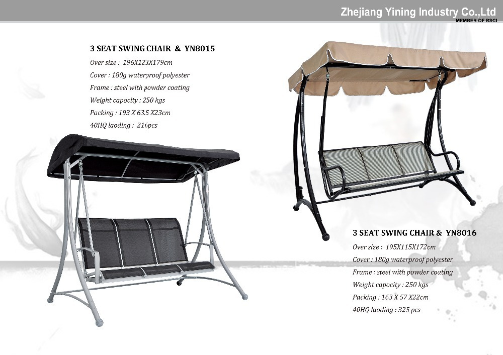3 Seat Canopy Swing Chairs 3 Seat Garden Hanging Chair Outside Rocking Chair  Round Cover Patio