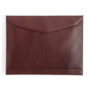 "Document Envelope with Magnetic Closure - Full Grain Leather - Burgundy (red), 11""H x 14""W x 0.25""D"