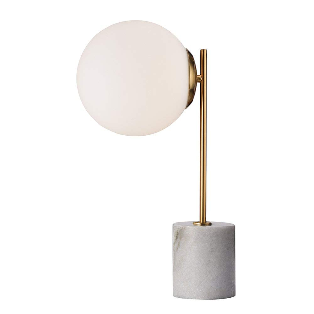 HIELUX Natural Marble Table Lamp,White Color Marble Base,Gold Electroplating Frame,Cream White Glass Shade 20cm Diameter Desk Lamp,1 x E26 Lamp Holder