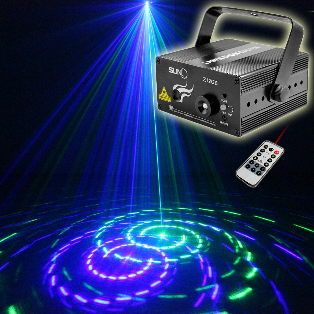 SUNY Laser Lights Music Laser Projector 12 Gobos Effect Green Blue Laser Blue LED Projector Remote Control Sound Activated Stage Light Dance DJ Disco Show Home Decorative Xmas Holiday Birthday Party