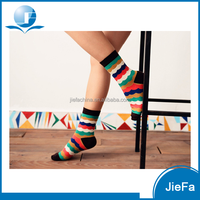 Fashionable colorful cross stripes knitting jacquard carded yarns lycra spandex socks