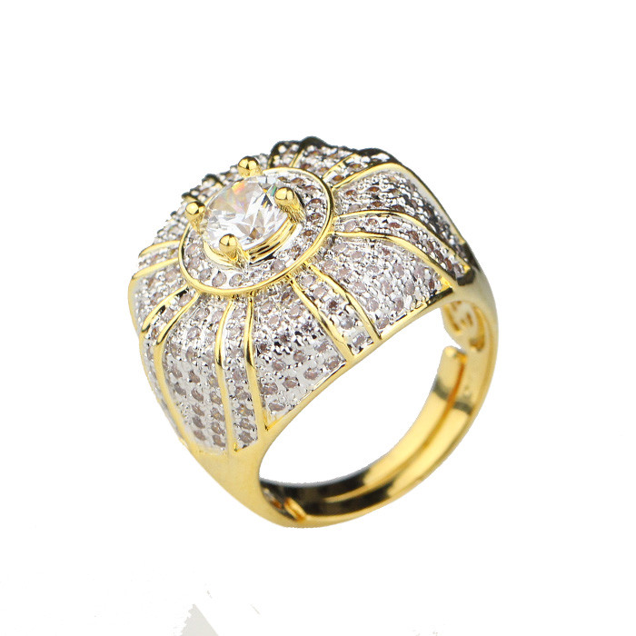 Crown design 2 gram iced out yellow gold rings for women gold