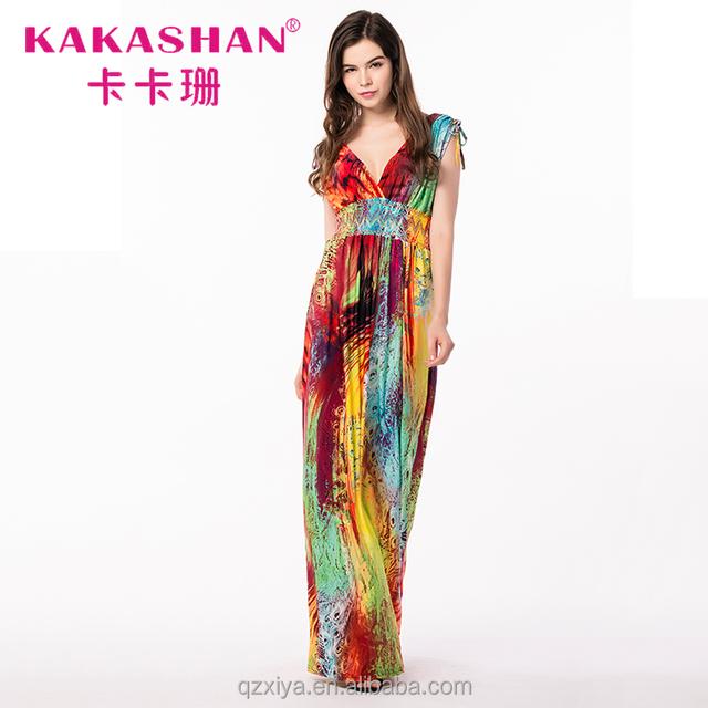 5bc0a59a3 Women Summer Casual Floral Beach Maxi Dress Tie Dye Bohemian Dresses India