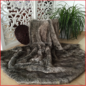 Fake Wolf / Coyote Fur Thorw Blanket Fake Fur Throw Blanket Bedspread Brown