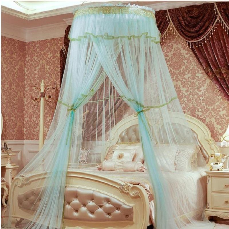 Acquista Princess Hung Dome Palace Zanzariera Studenti Insect Letto  Matrimoniale Baldacchino Rete Pizzo Camera Da Letto Tende Circolari  Moustiquaire A ...