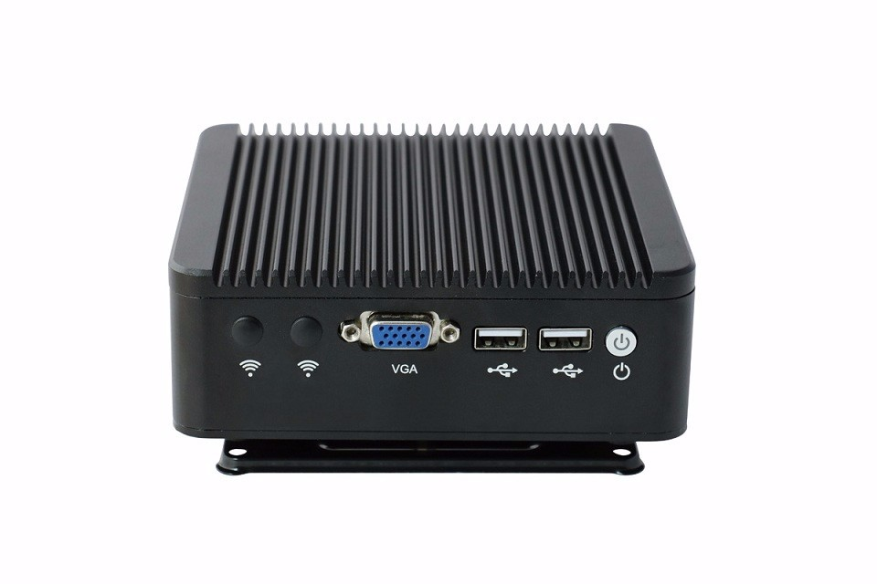 Eglobal Barebone Fanless Mini PC M4-J1900L4 with Intel Celeron J1900 Intel HD Graphics 2*LAN+1*VGA All Black Aluminum Alloy