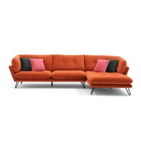 oem velvet Italian design modern furniture sectional sofa for living room