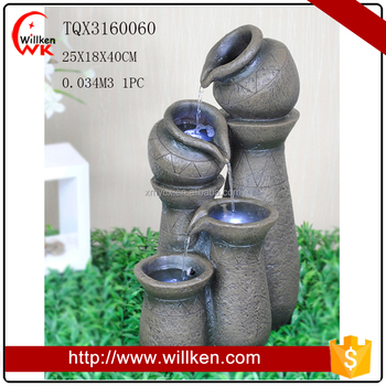 Alpine Tiering Pots polyresin indoor and outdoor fountain