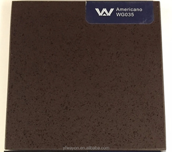 pure color quartz stone supplier-Americano-dark brown- WG035