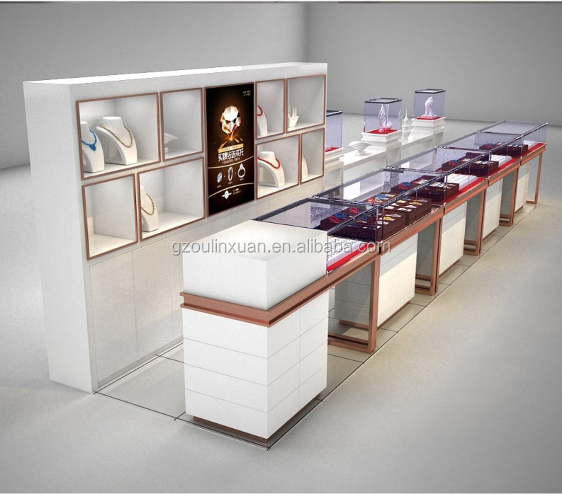 China fabrik schmuck display schaufenster/Platz mit led licht schmuck vitrine/mewest schmuck display fall