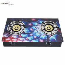 Hot Selling 3-D Glass Top Standard Double Burner Gas Stove Gas Cooker