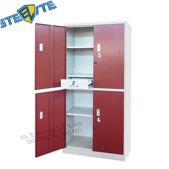 Multipurpose 4 Door Metal Work Tool Cabinet Steel Storage With 2 Drawers